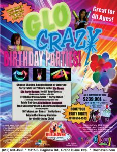 party flyer for Glo Crazy Party