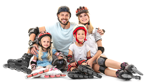 young family wearing inline skates