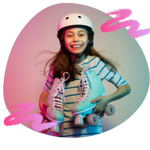 cute girl with roller skates